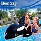 Bestway 41009殺人鯨造型充氣浮排坐騎游泳圈附修補片.動物造型座騎充氣浮圈救生圈