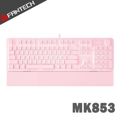 FANTECH MK853 白光燈效多媒體機械式電競鍵盤(英文版)-櫻花粉