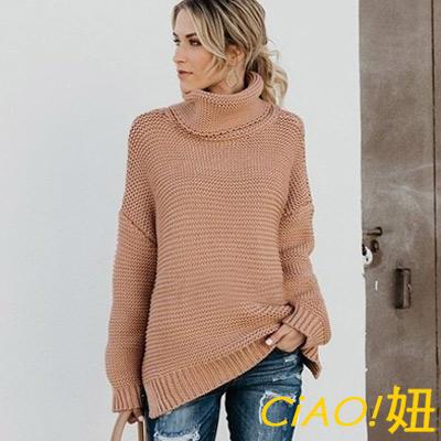 蠟筆色高領粗線條針織毛衣 (共三色)-CIAO妞