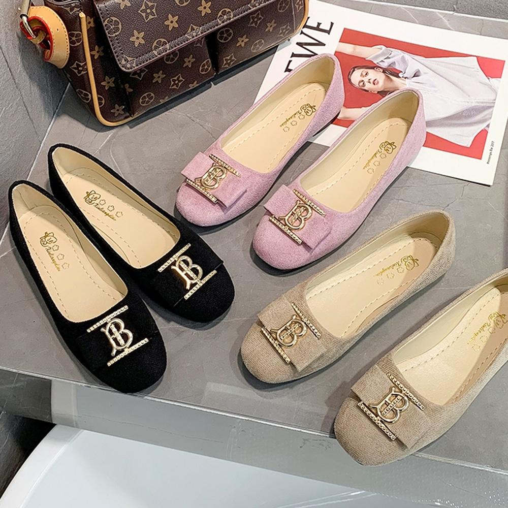 KEITH-WILL時尚鞋館-鑽鑽相連尖頭豆豆鞋(娃娃鞋)通勤鞋(共3色)