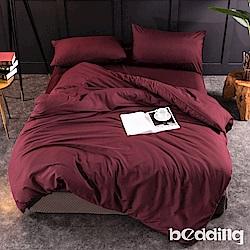 BEDDING-活性印染日式簡約純色系單人薄式床包枕套二件組-酒紅色