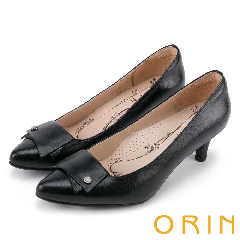 ORIN 典雅氣質 造型剪裁羊皮百搭尖頭跟鞋-黑色