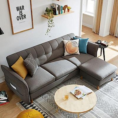 hoi! 北歐多功能三人布沙發床+腳凳(附4顆抱枕)1012-中灰色 (H014207082)