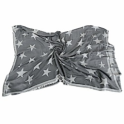 Stella McCartney star 星星織紋絲混紡流蘇圍巾(鐵灰色)
