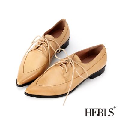 HERLS 全真皮拼接造型尖頭牛津紳士鞋-駝色