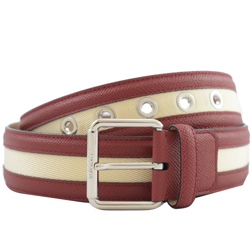BALLY 經典牛皮紅白紅織布扣式皮帶