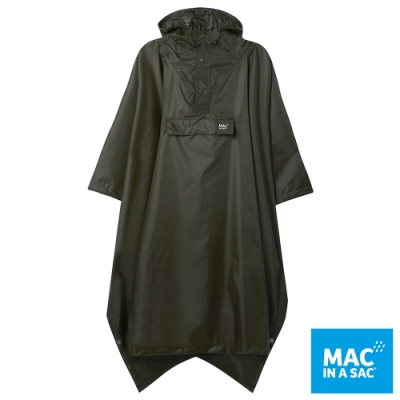 【MAC IN A SAC】中性款輕巧袋著走快穿成人斗篷式雨衣MNS041墨綠