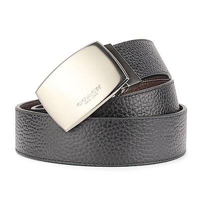 COACH 素面荔枝紋皮革金屬扣頭雙面用寬版皮帶-黑色