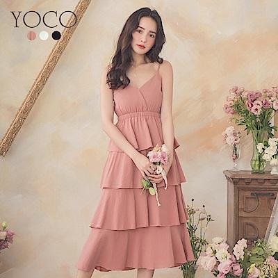 東京著衣-YOCO 甜美可愛細肩帶縮腰多色蛋糕洋裝-S.M(共三色)