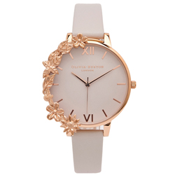 OLIVIA BURTON  華麗花朵風皮革錶帶手錶(OB16CB06)-淺灰面/38mm