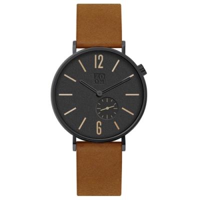 ZOOM LEAK 黎刻簡約小秒腕錶 -橙棕 / 41 mm