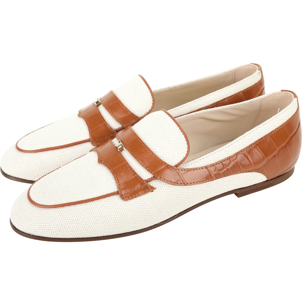 TOD'S Timeless 鱷魚紋牛皮拚帆布樂褔鞋(米棕色)