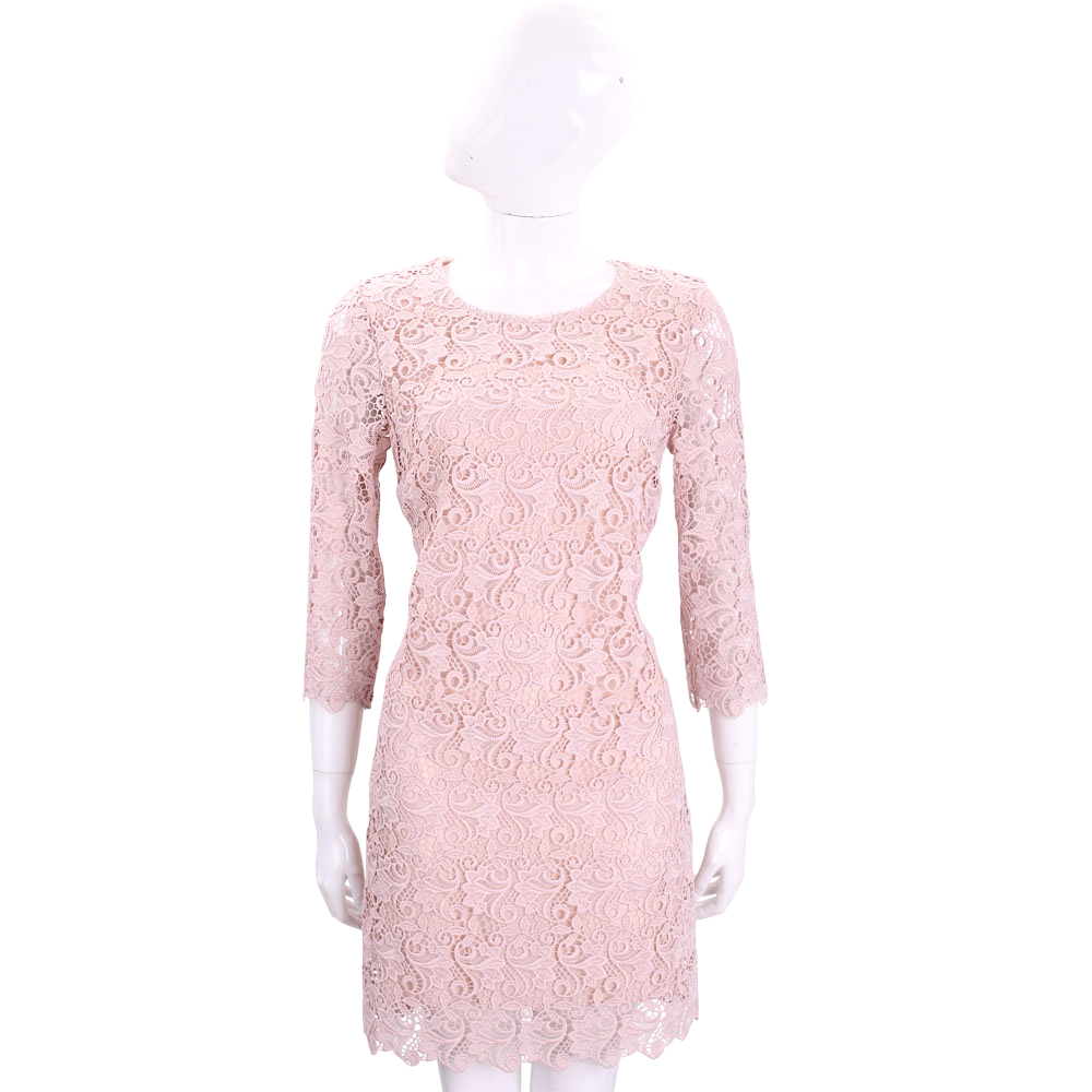ERMANNO SCERVINO 粉色縷空織花七分袖蕾絲洋裝