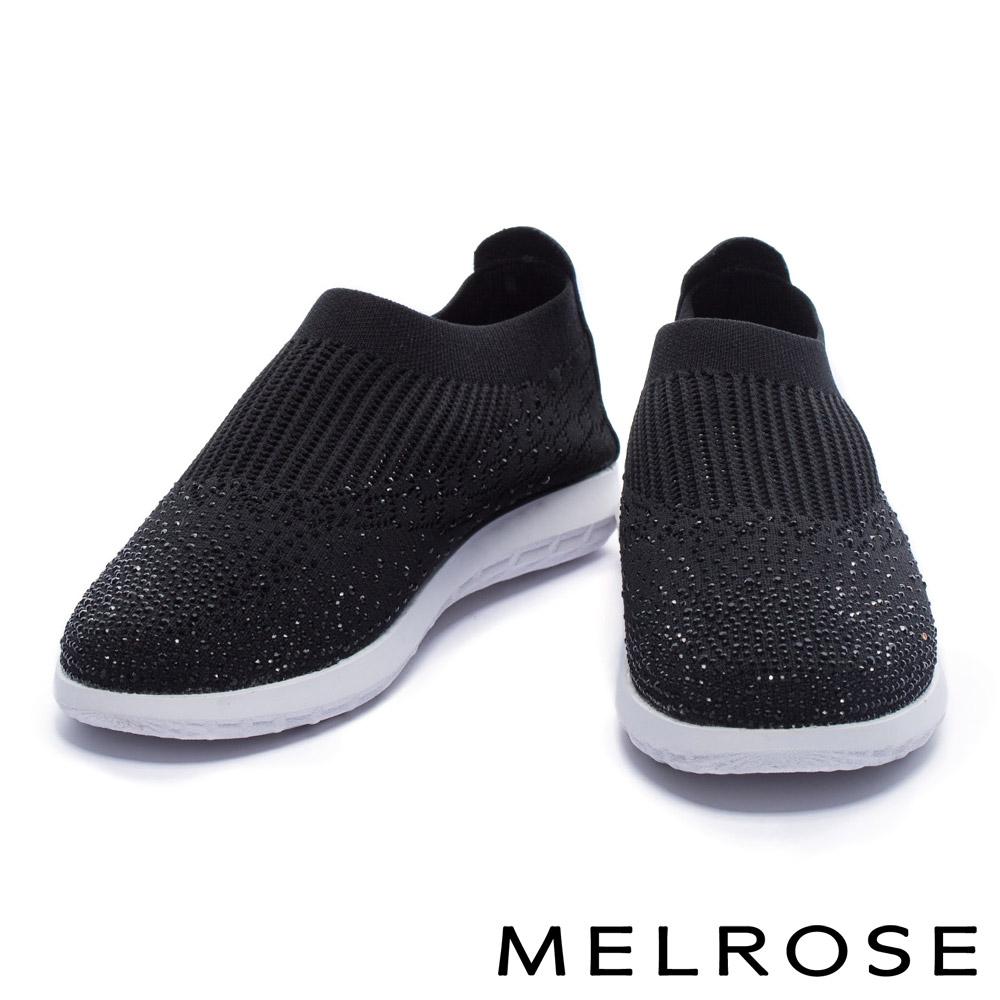 休閒鞋 MELROSE 百搭時髦水鑽針織彈力厚底休閒鞋-黑