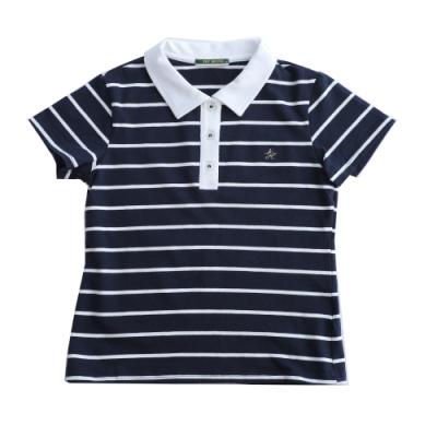 IVY HOUSE常春藤童裝 經典易搭配深藍白條 女polo上衣(120cm~170cm)親子衫  台灣製