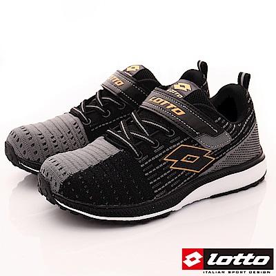 Lotto義大利運動鞋 飛織機能款 RSI710黑灰金(中大童段)