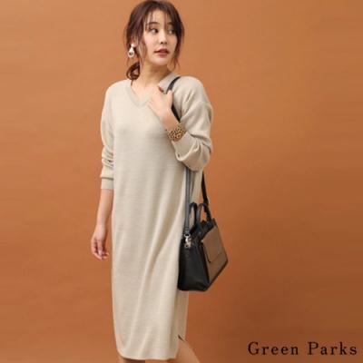 Green Parks 氣質V領側開衩針織洋裝