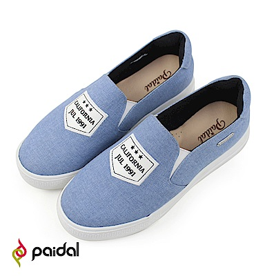 Paidal 單寧款假口袋電繡厚底休閒鞋