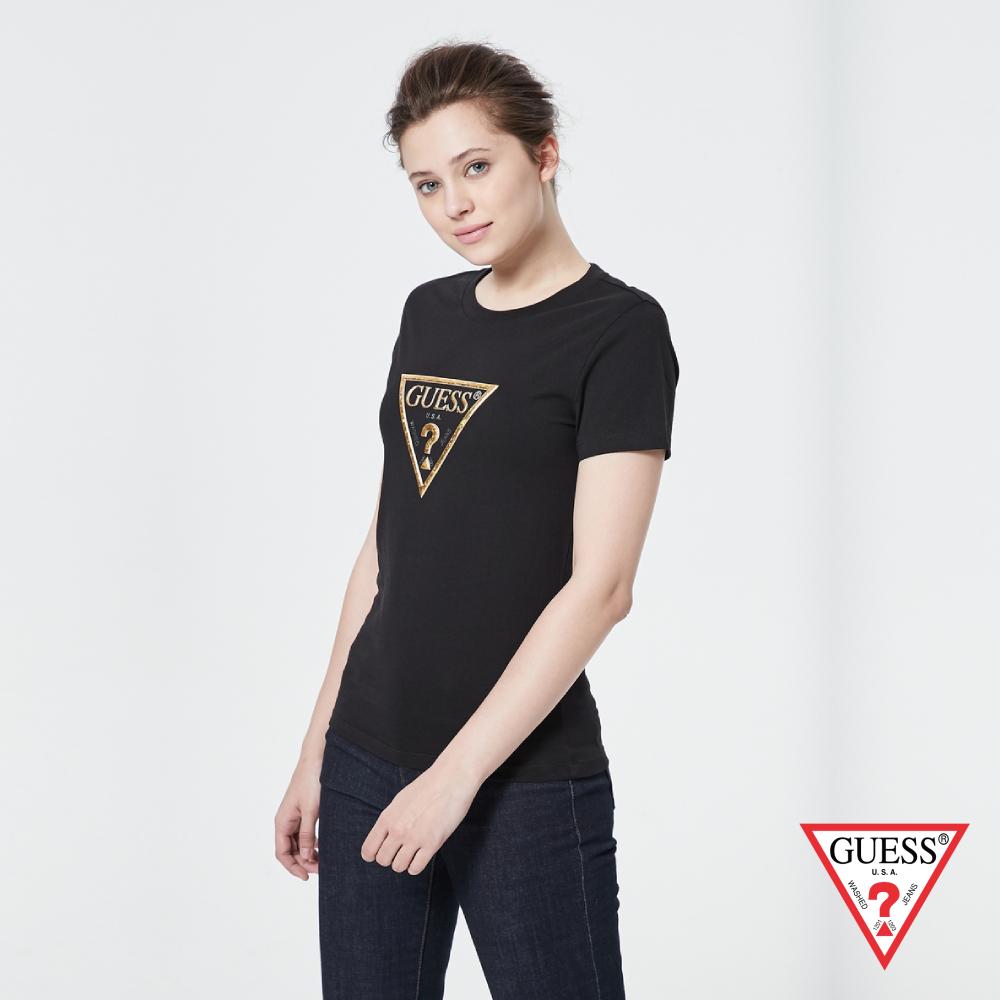 GUESS-女裝-個性金色PVC印刷LOGO短T,T恤-黑 原價1390