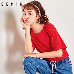 SEMIR森馬-素面基本款簡約設計T恤-女