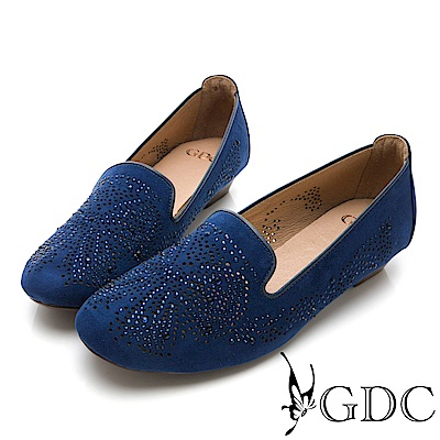 GDC-煙火綻放水鑽舒適平底包鞋-藍色