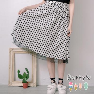 betty's貝蒂思 點點拼接內網紗長裙(白色)