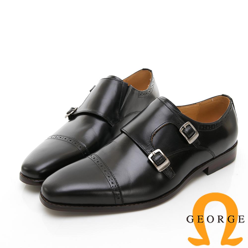【Amber】商務時尚 雕花雙扣紳士孟克鞋-黑色