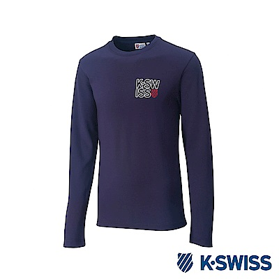 K-Swiss Long Sleeve T-Shirts 印花長袖T恤-男-藍