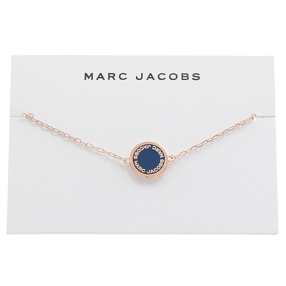 MARC JACOBS Logo圓牌細鍊手鍊(玫瑰金/藍)