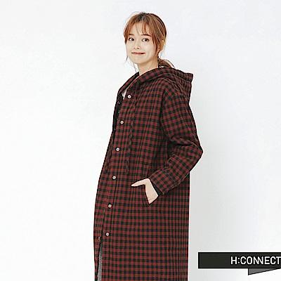 H:CONNECT 韓國品牌 女裝-格紋刷毛連帽外套-紅