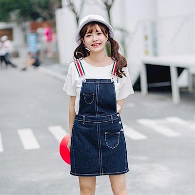 DABI 新款韓系寬松顯瘦牛仔背吊帶裙無袖洋裝