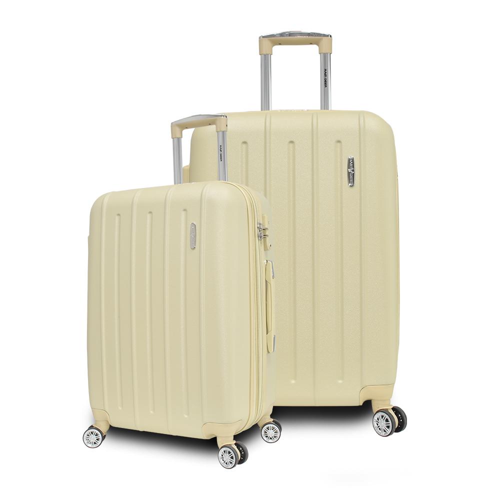 RAIN DEER 歐爾森24+28吋ABS耐磨防刮電子紋行李箱-貝殼砂