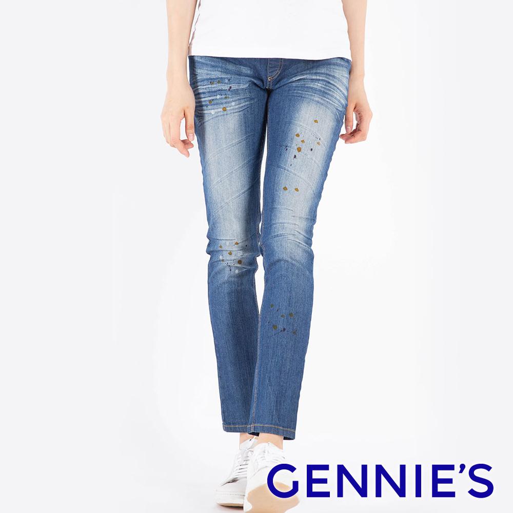 Gennies專櫃-個性潑漆一體成型牛仔直筒褲-藍(T4F52)