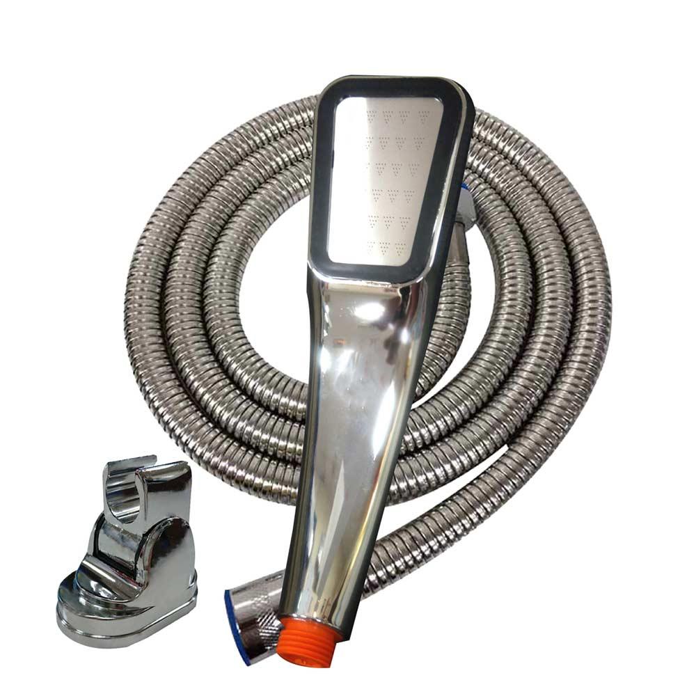 愛家捷 300孔增壓細水蓮蓬頭+150CM不鏽鋼軟管+可調式掛座