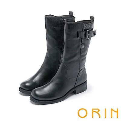 ORIN 粗曠中性帥氣 復古蠟染牛皮率性飾釦中長靴-黑色