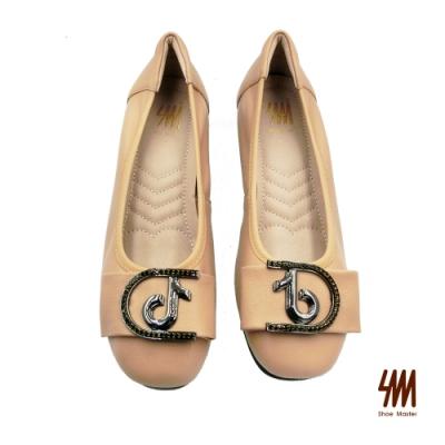 SM-經典音符水鑽金屬扣環中跟鞋-杏色 (兩色)