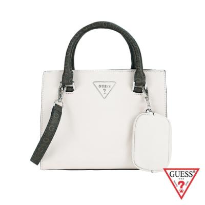GUESS-女包-經典倒三角logo手提肩背包-米白