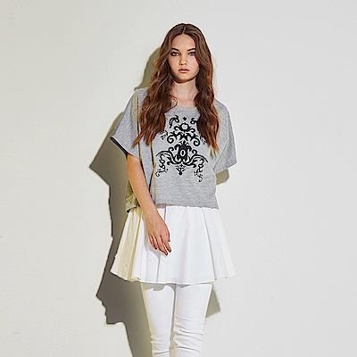 Hana+花木馬 斗篷兩件式穿搭刺繡印花棉製長版造型上衣-灰(共2色)