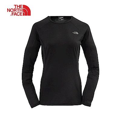 The North Face北面女款黑色運動圓領發熱衣|CL78KX7