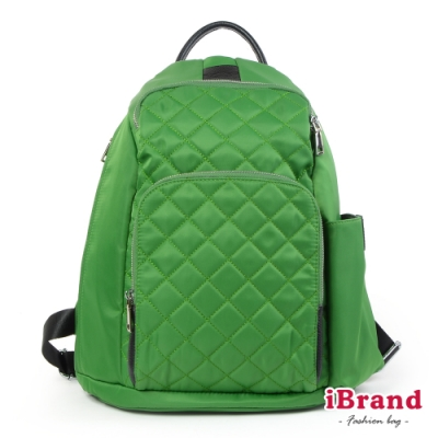 iBrand後背包 率性菱格紋後開式防盜尼龍後背包(M)-蘋果綠
