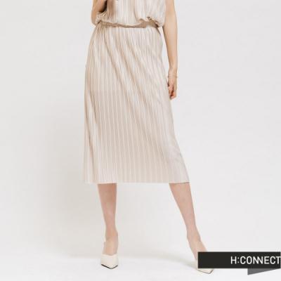 H:CONNECT 韓國品牌 女裝 - 素色百摺長裙 - 米白