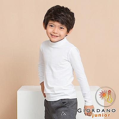 GIORDANO 童裝G-Warmer彈力舒適高領極暖衣-01 標誌白