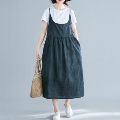 SQUA 寬鬆復古格紋棉麻背心洋裝-(L/XL)