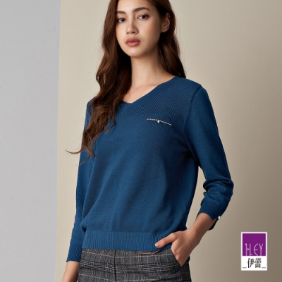 ILEY伊蕾 燙鑽珍珠V領七分袖針織上衣(藍/綠/桃)