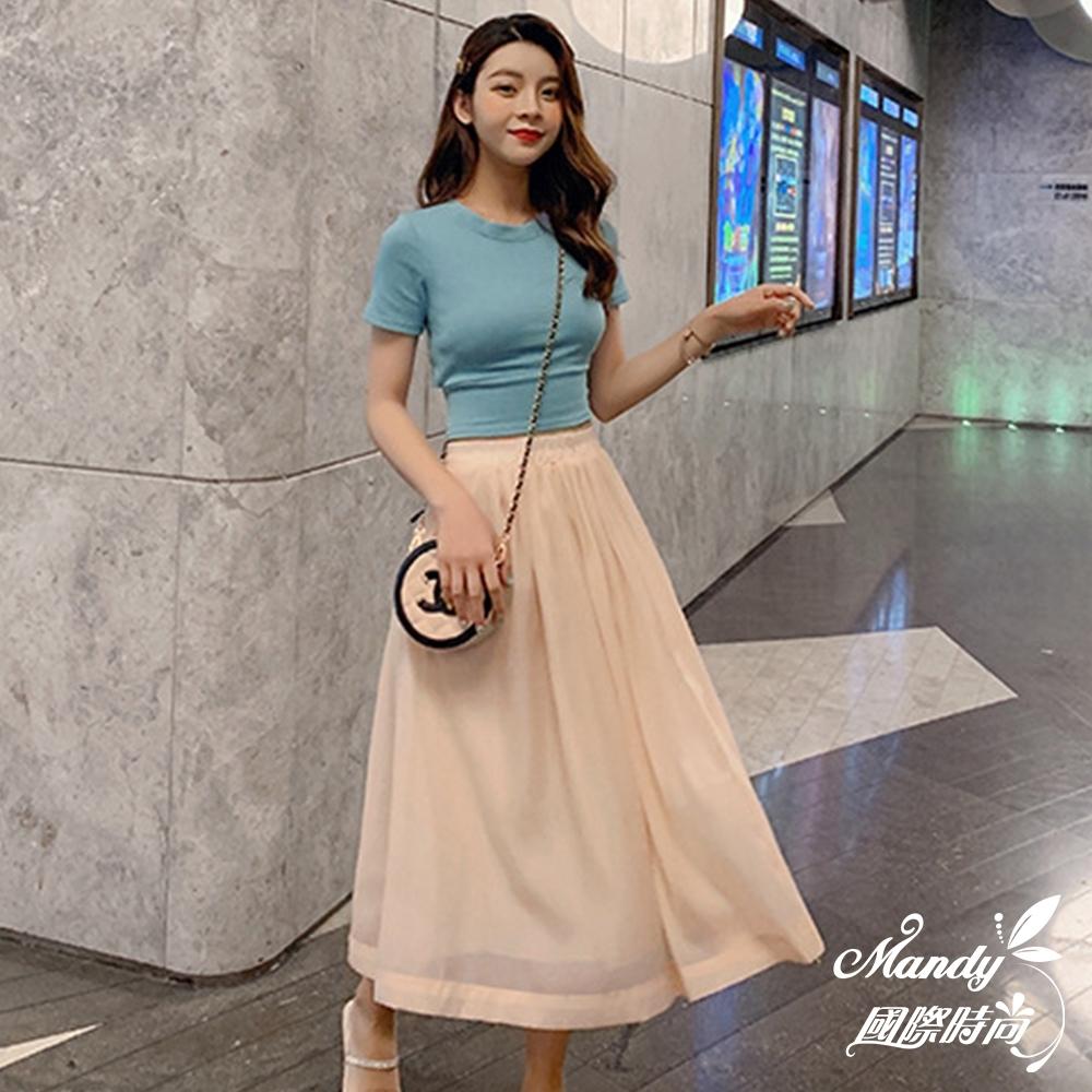 Mandy國際時尚 二件套組 露背上衣+網紗半身裙