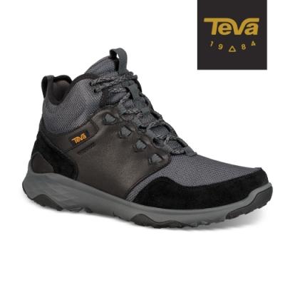 【TEVA】原廠貨 男 Arrowood Venture Mid WP 中筒防水牛皮機能休閒鞋/登山鞋(黑-TV1106132BLK)