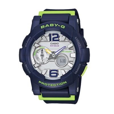 CASIO 卡西歐 BABY-G 衝浪滑板極限運動錶-藍x44mm(BGA-180-2B)