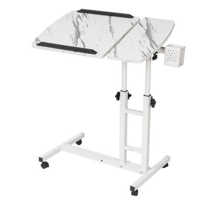 樂嫚妮 DIY日式/360度升降工作桌/懶人桌/電腦桌/NB桌/邊桌-大理石白色