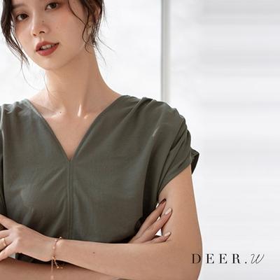 DEER.W V領肩褶純色柔棉上衣(六色)
