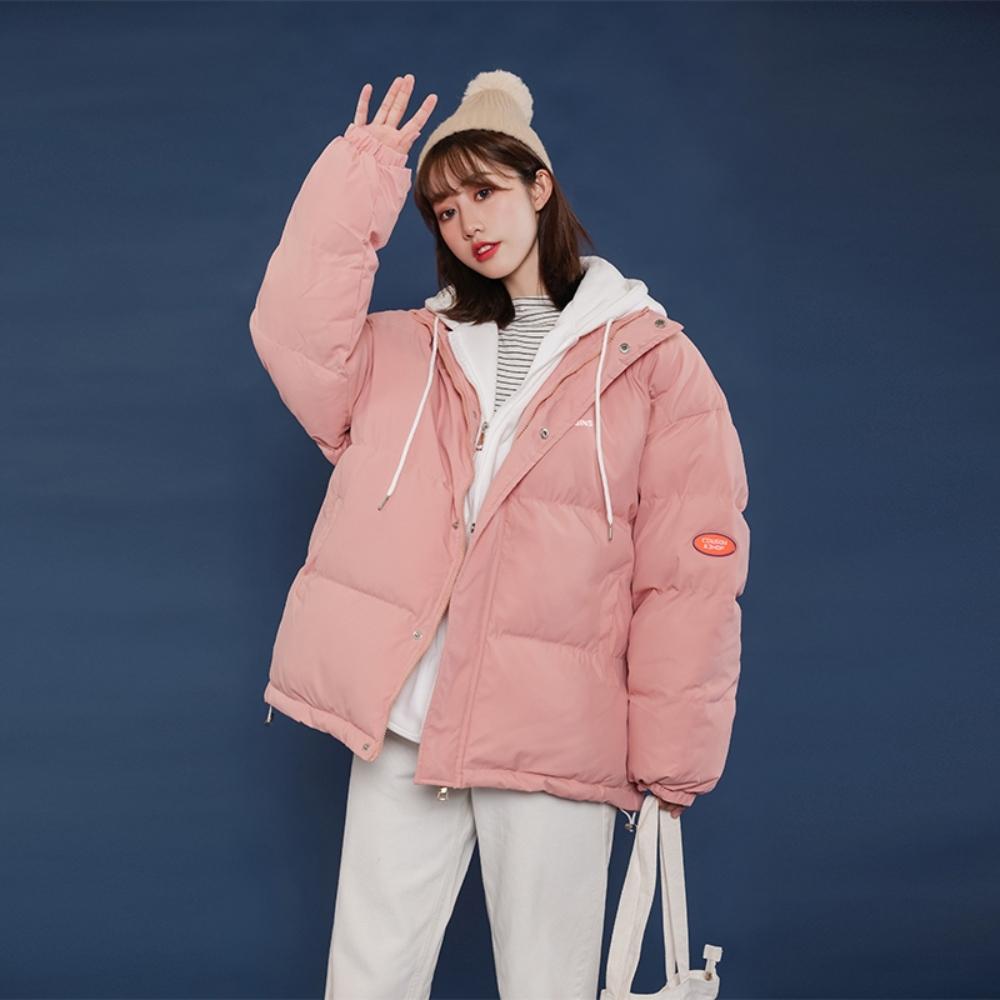 撞色連帽抽繩搭棉衣保暖外套S-2XL(共四色)-WHATDAY (粉色)